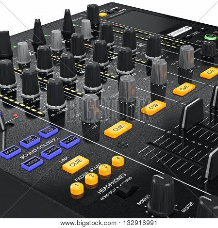 Music dj mixer with controls change sound settings, zoomed view. 3D graphic