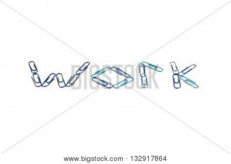 paper clip work text isolated on white background