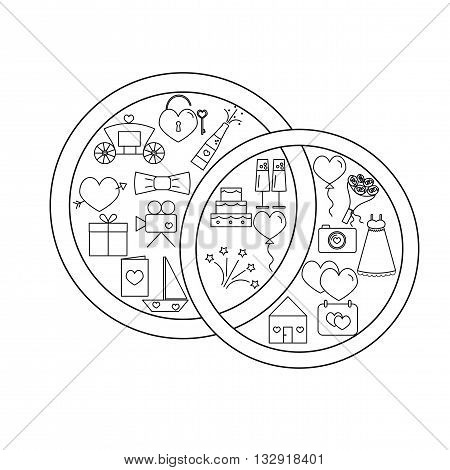 Icons set wedding. Icons placed inside a wedding wedding rings on a white background. Wedding icons in the style of the line. Vector illustration.