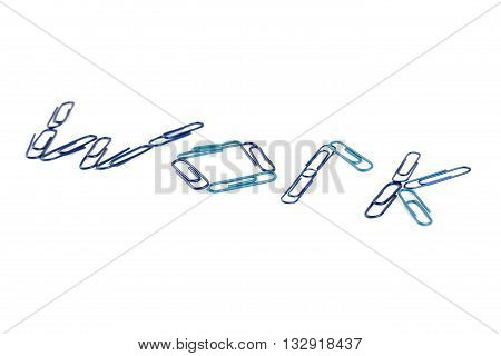 word work made of clips isolated on white background