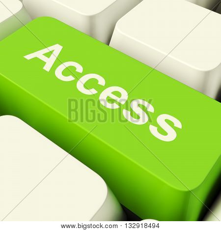 Access Computer Key In Green Showing Permission And Security