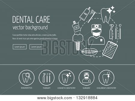 White dental care web design concept. Line icons for website and landing page. Modern linear concept. Flat design. Vector illustration