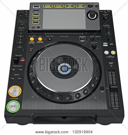 Digital dj music turntable mixer with buttons control parameters. 3D graphic