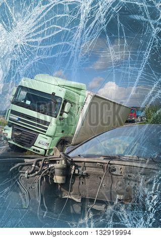 View of truck and car in an accident