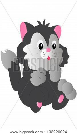 Little smiling cute playful grey kitten cartoon vector illustration