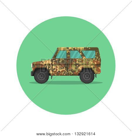 Car icon jeep. The army SUV with a camouflage covering of khaki. The vehicle of the increased passability for travel active recreation hunting a safari and the hard purposes. A vector illustration in flat style.
