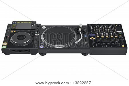 Set professional dj digital table mixer, music instrument  digital equipment. 3D graphic