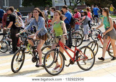 Orel Russia - May 29 2016: Russian Bikeday in Orel. Girls riding on Zebra crossing horizontal