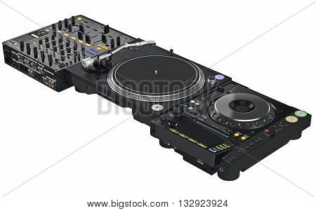 Dj table mixer and turntable professional musical equipment. 3D graphic