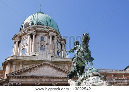 Buda Castle and Monument of Prince Eugene of Savoy Budapest Hungary