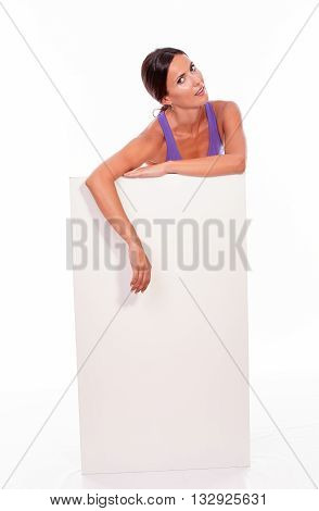 Healthy Smiling Brunette Behind Blank Placard