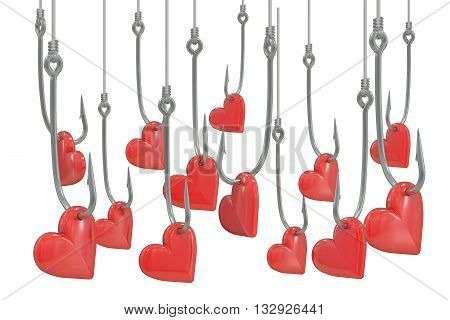 Red hearts on the fishing hooks 3D rendering on white background