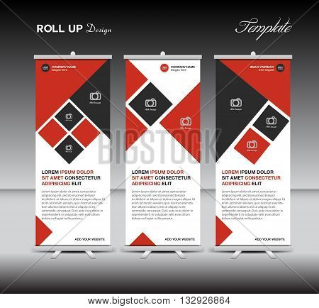 Red Roll Up Banner template display advertisement layout design vector illustration