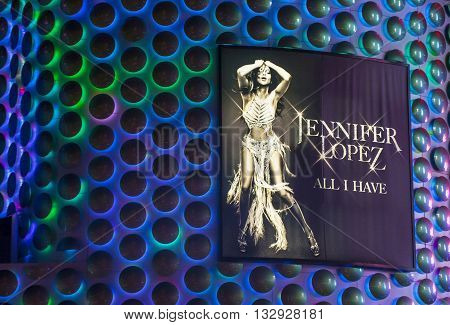 LAS VEGAS - APRIL 13 : The Jennifer Lopez show poster at Planet Hollywood Resort on Apeil 13 2016 in Las Vegas. The two hour show include a live band dancers and it include Jennifer Lopez top songs.