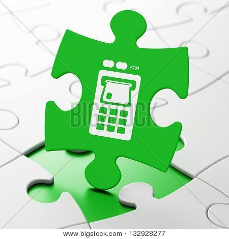 Money concept: ATM Machine on Green puzzle pieces background, 3D rendering