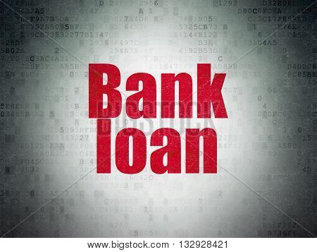 Currency concept: Painted red word Bank Loan on Digital Data Paper background