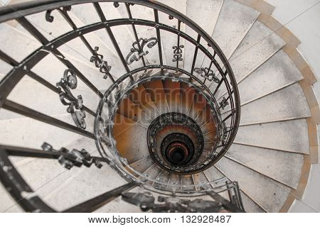 The Spiral stairs St.Stephen's Basilica Budapest Hungary.