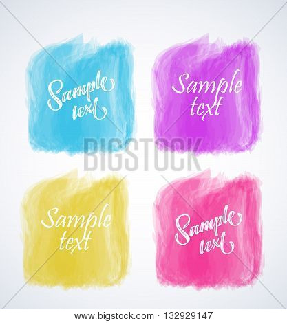 Vector elements for headers, labels, web buttons. Square brush strokes. Colorful banners.