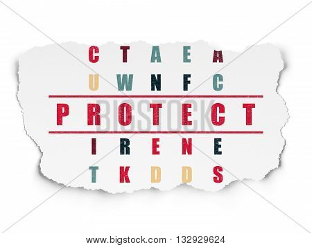 Security concept: Painted red word Protect in solving Crossword Puzzle on Torn Paper background