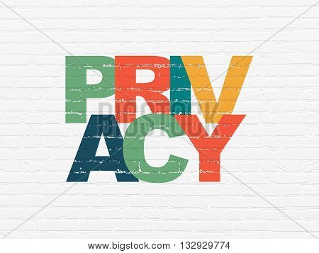 Privacy concept: Painted multicolor text Privacy on White Brick wall background