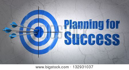 Success finance concept: arrows hitting the center of target, Blue Planning for Success on wall background, 3D rendering