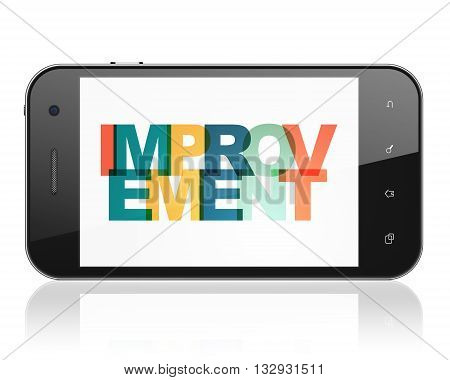 Finance concept: Smartphone with Painted multicolor text Improvement on display, 3D rendering