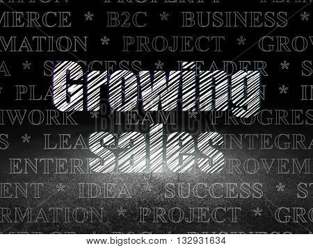 Business concept: Glowing text Growing Sales in grunge dark room with Dirty Floor, black background with  Tag Cloud