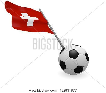 Soccer ball with the flag of Switzerland on a white background