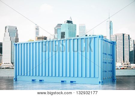 Blue Cargo Container In City