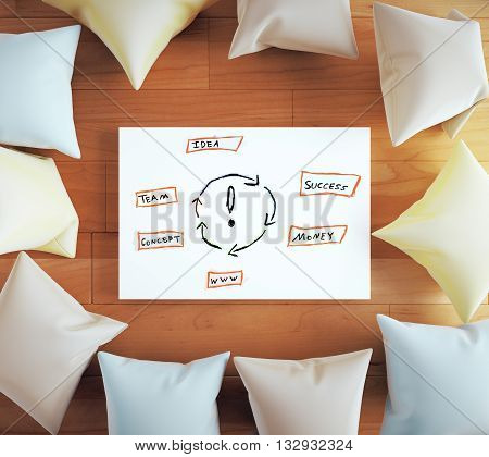 Idea concept with sketch on whiteboard surrounded with colorful pillows on wooden floor. 3D Rendering