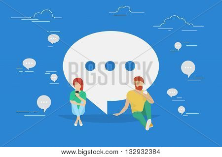Chat talk concept illustration of young people using mobile smartphone for sending messages to each other via internet. Flat design of guy and woman sitting on the floor near big speech bubble symbol