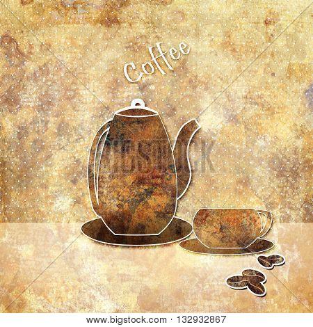 Vintage pot and cup on grunge background illustration