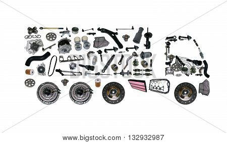 Images truck assembled from new spare parts. Cargo shop