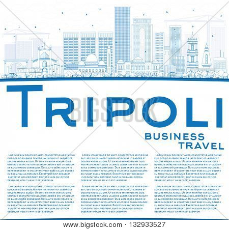 Outline Tripoli Skyline with Blue Buildings and Copy Space. Business Travel and Tourism Concept with Historic Buildings. Image for Presentation Banner Placard and Web.