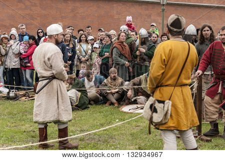 St-Petersburg, Russia - May 28,2016: Preparation for the Vikings. Historical reenactment and festival on may 28 2016 in Saint Petersburg Russia