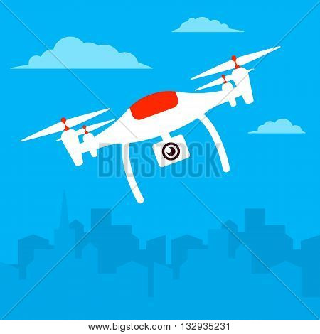 Remote aerial drone with a camera taking photography or video recording under the town. Vector art on isolated background. Flat design.