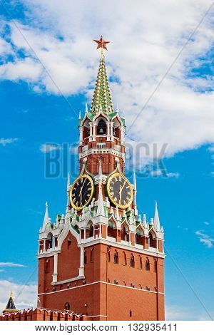 Spasskaya Tower of the Moscow Kremlin on the Red Square. Russia