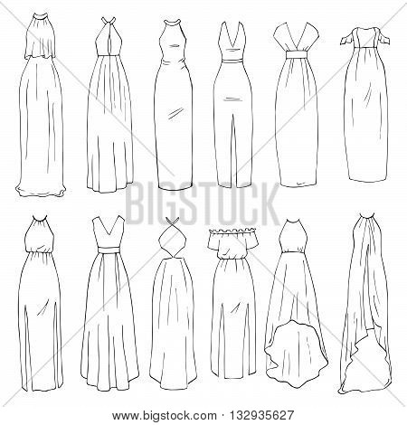 Hand drawn vector clothing set. 12 models of trendy maxi dresses. (part 1)