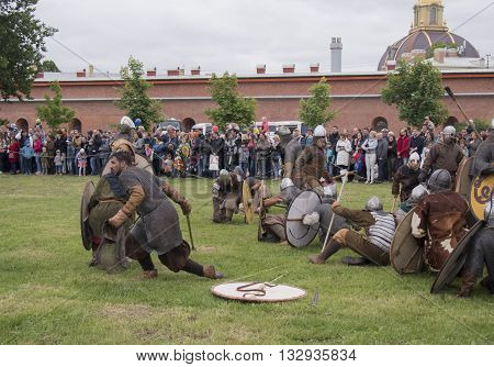 Saint Petersburg Russia - 28 may 2016: battle of the Vikings. Historical reenactment and festival may 28 2016 in Saint Petersburg Russia
