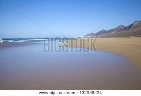Fuerteventura Canary Islands wide sandy Cofete beach on Jandia Peninsula