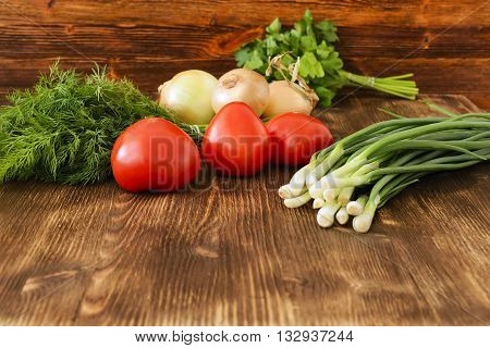 Fresh Vegetables, Tomatoes, Onions, Dill