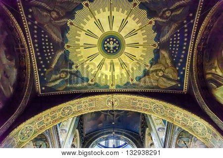 KIEV, UKRAINE - APRIL 18, 2015 Holy Spirit Mosaic Basilica Saint Volodymyr Cathedral Kiev Ukraine. Saint Volodymyr was built between 1882 and 1896. It is the mother church of the Ukrainian Orthodox church.
