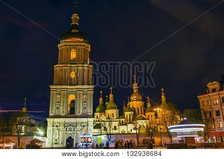 Saint Sophia Sofia Cathedral Spires Tower Golden Dome Nigh Starst Sofiyskaya Square Kiev Ukraine. Saint Sophia is oldest Cathedral and Church in Kiev. Saint Sofia was built by King Yaroslov the Wise in 1037.
