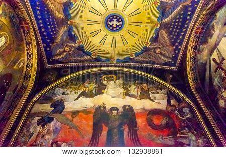 KIEV, UKRAINE - APRIL 18, 2015 Holy Spirit Angel Mosaics Basilica Saint Volodymyr Cathedral Kiev Ukraine. Saint Volodymyr was built between 1882 and 1896. It is the mother church of the Ukrainian Orthodox church.