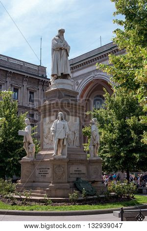 Milan Italy - May 25 2016: Leonardo's monument on Piazza Della Scala. The monument was erected in 1872. The work of the sculptor Pietro Magni.