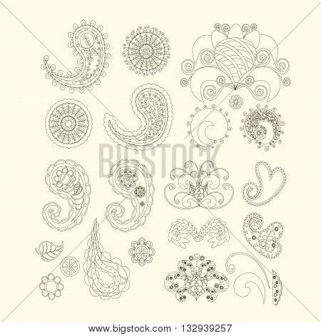 Set of cute paisley pattern (Turkish cucumber) for design of fabrics, tableware, wallpaper, isolated, vector