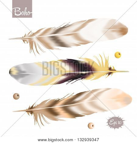 Set of color feather in boho style with beads. Vector illustration