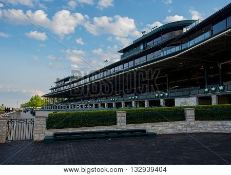 Lexington United States: May 6 2016. Keeneland Grandstand is quiet before a busy down of racing