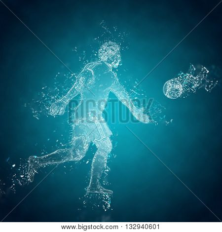 Abstract football (soccer) goalkeeper kicks the ball. Crystal ice effect