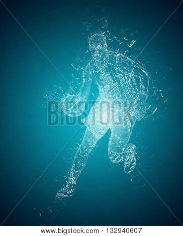 Abstract basketball player controls a ball. Crystal ice effect